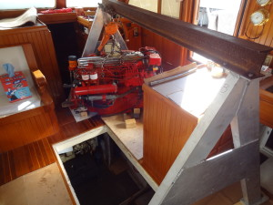Engine and I-beam on A-frame